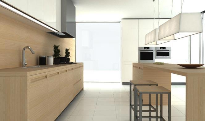 Diseño de cocina moderno minimalista de madera de la linea Geo