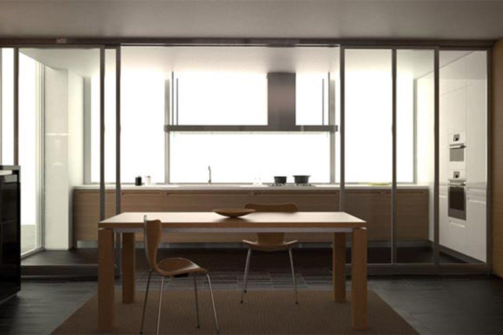 Diseño de mueble de cocina moderno blanco y madera linea Geo