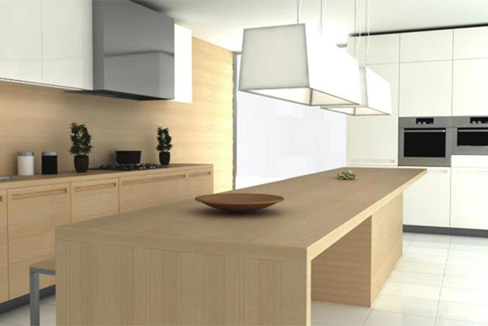 Diseño de mueble de cocina moderna blanca y madera con desayunador linea Geo