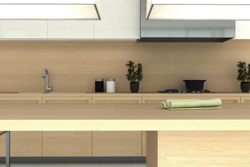 Diseño de mueble de cocina moderna con desayunador linea Geo
