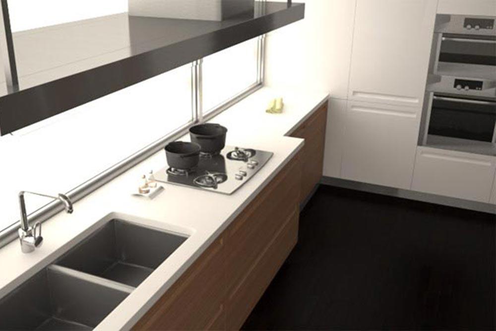 Vista aerea de diseño de cocina moderna blanca con campana