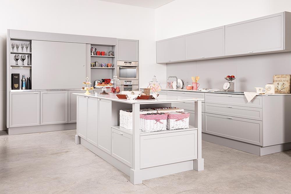 Mueble de cocina moderna gris con isla linea Neo